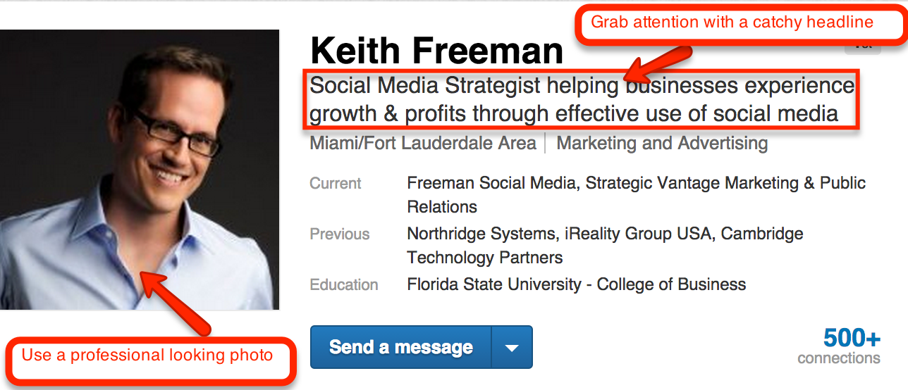 how to set up a linkedin profile like a profreemansocialmedia